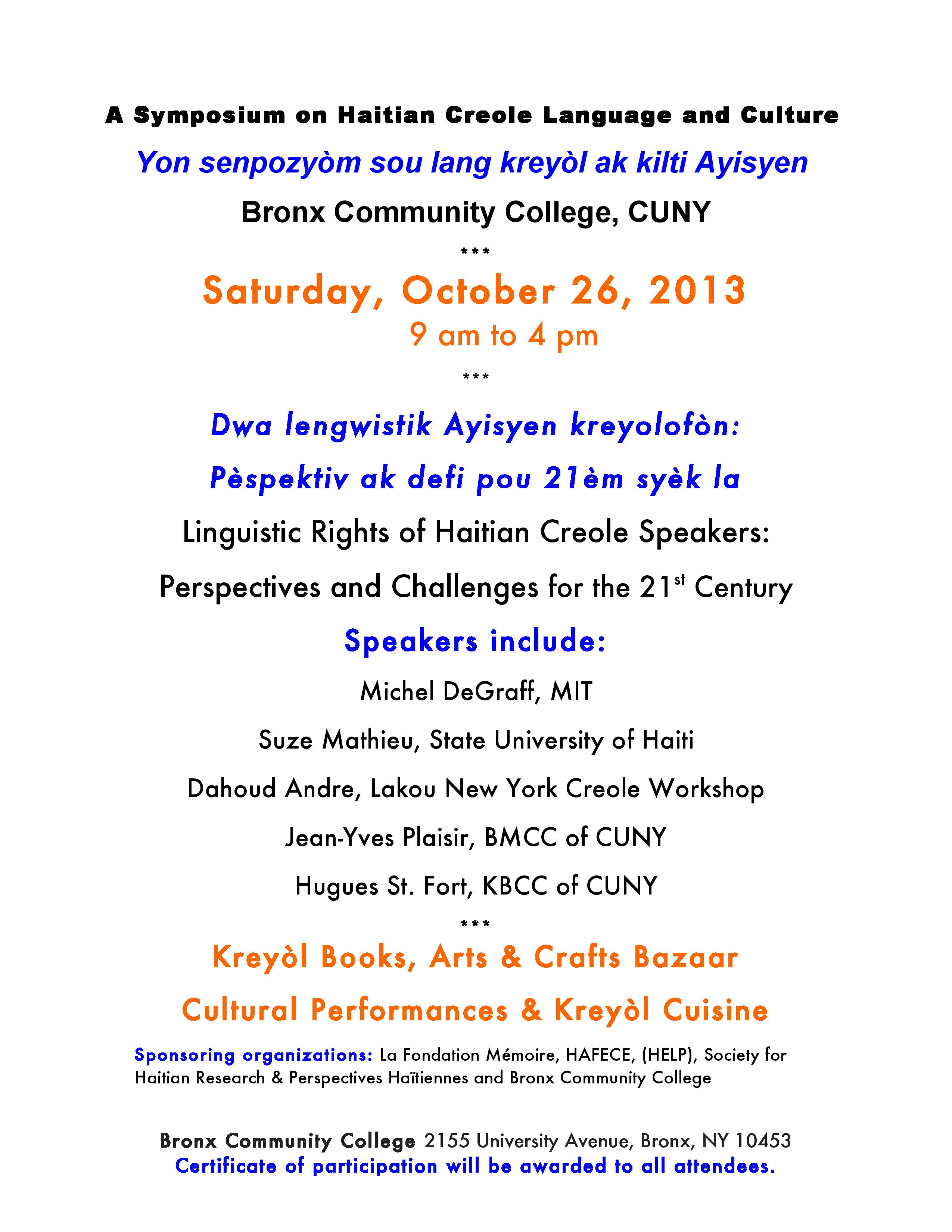Cuisines Jean De Mathieu October 26 Linguistic Rights Of Haitian Creole Speakers In The
