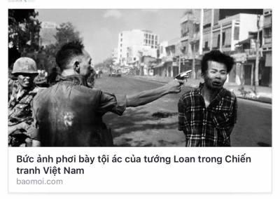 """Bức ảnh Tướng Loan xử bắn tên Việt Cộng nằm vùng """"7 Lốp"""" vào tết Mậu Thân 1968 tại Saigon ..."""