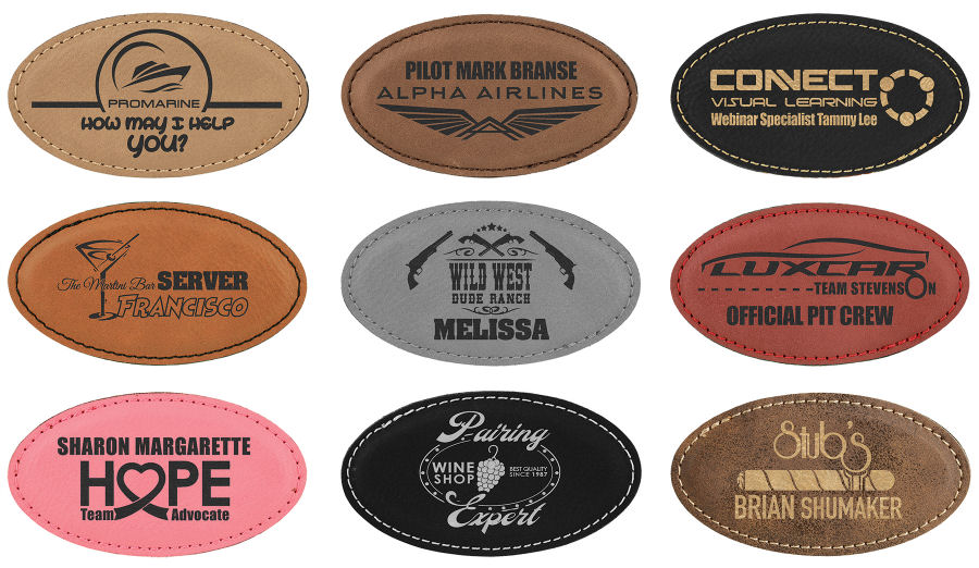 Leatherette Name Badge 1 3 4quot X 3 1 4quot Trophies And