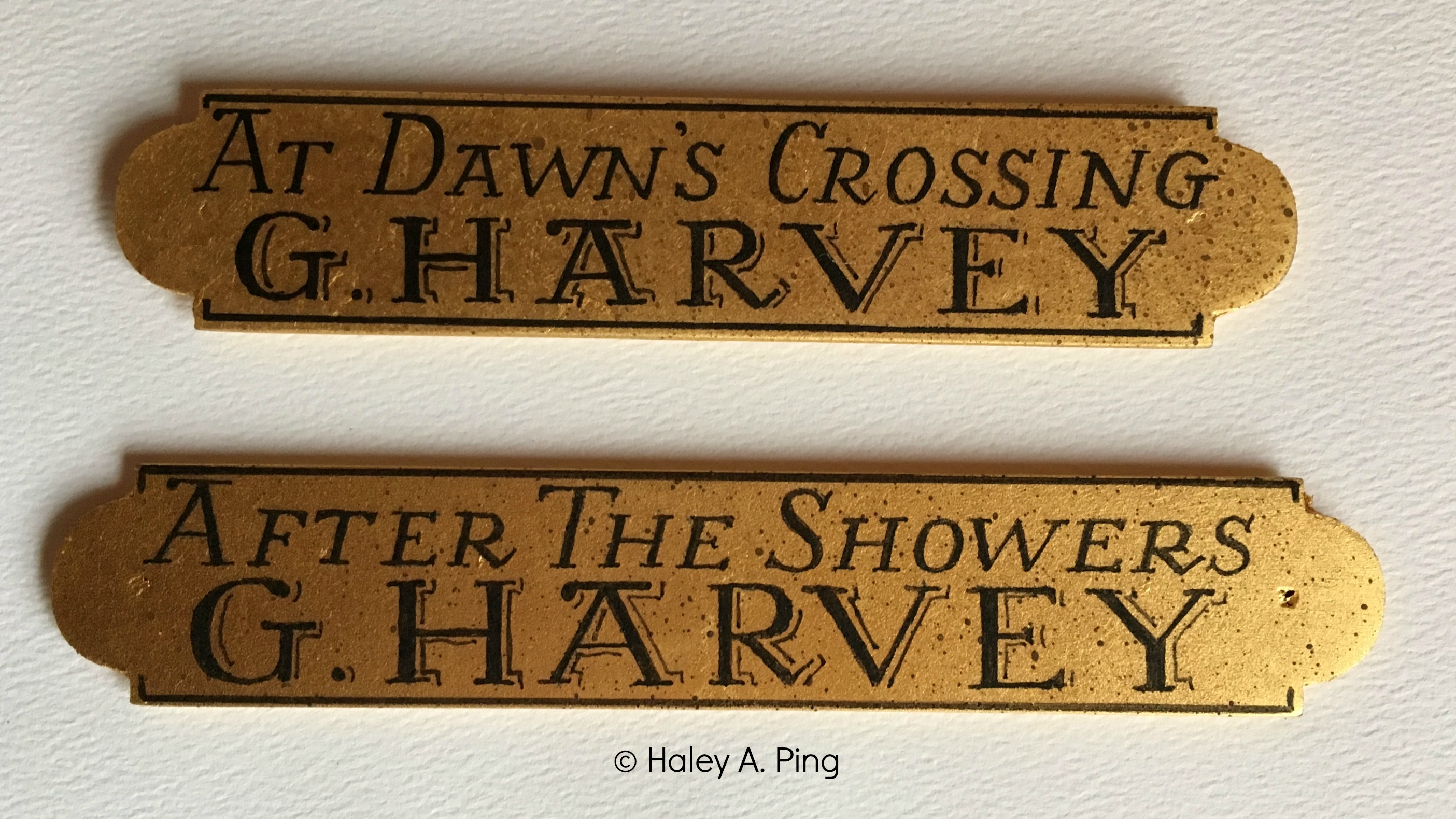 Artist nameplates haley ping calligrapher artist my nameplates are each gilded with 23 karat gold leaf on hard wood plates they can be antiqued darkened or have added imitation fly specks added jeuxipadfo Images