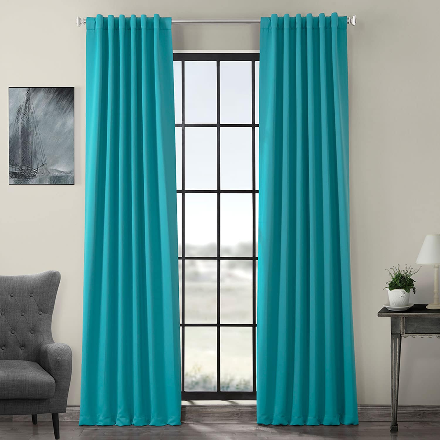 Curtains For A Blue Room Turquoise Blue Pole Pocket Room Darkening Curtain
