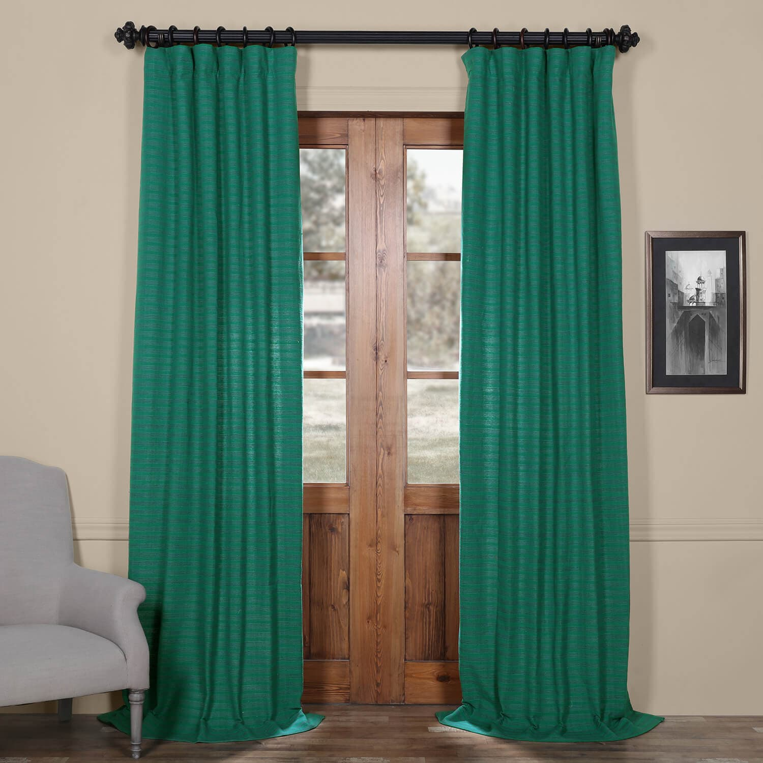 Curtain Deals Teal Hand Weaved Cotton Curtain Deals Learn More