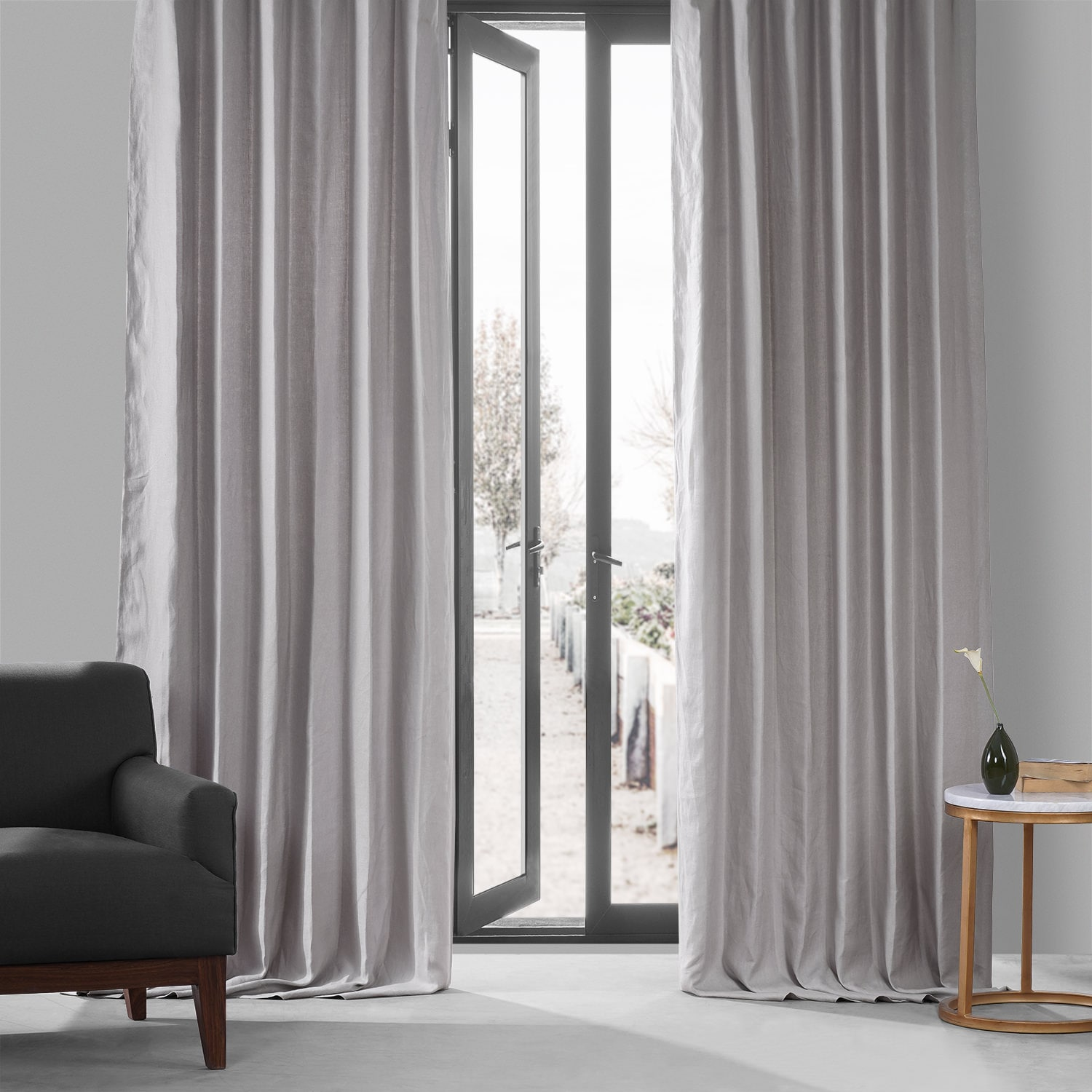 Buy Draperies Earl Grey French Linen Curtain