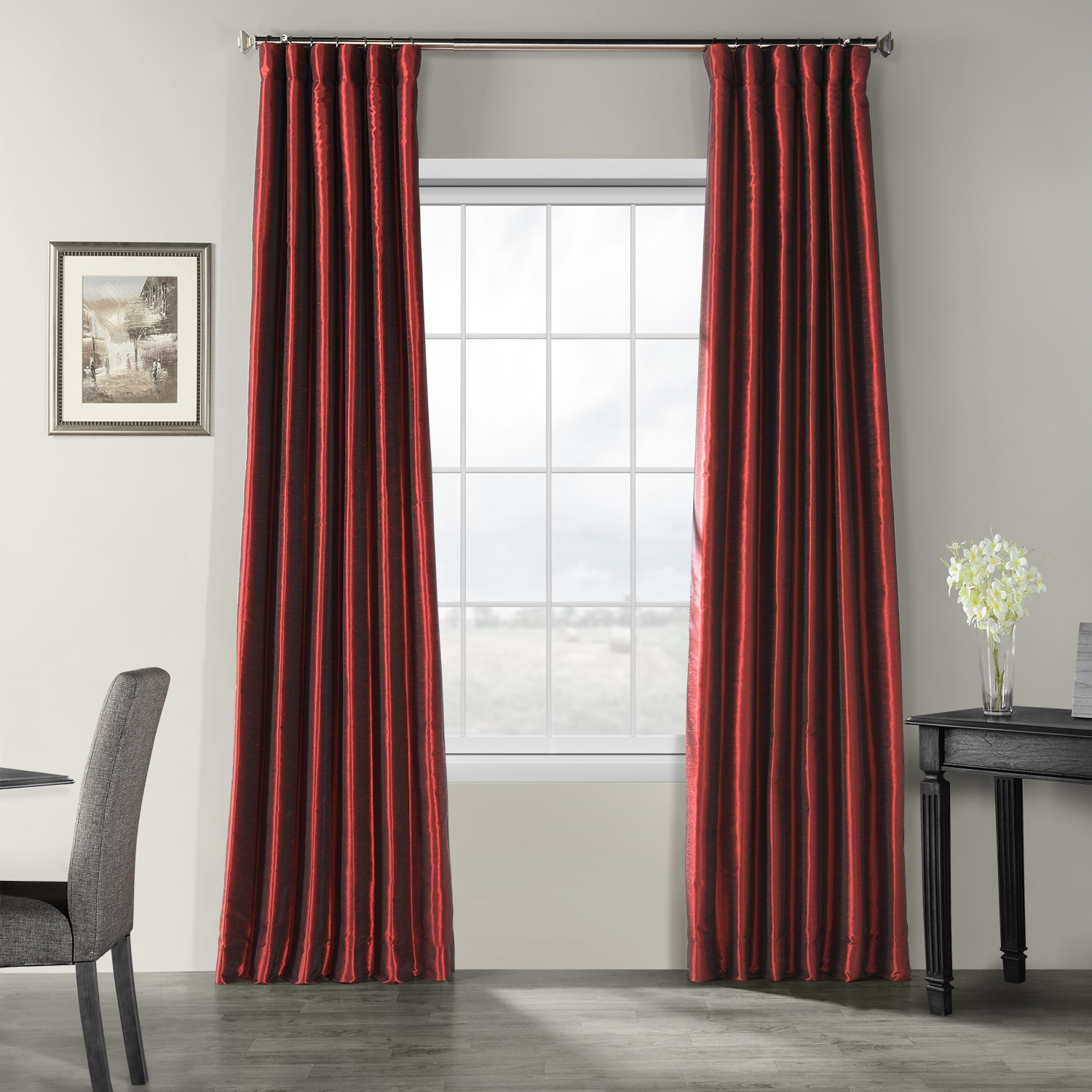 Faux Silk Curtains Ruby Vintage Textured Faux Dupioni Silk Curtain