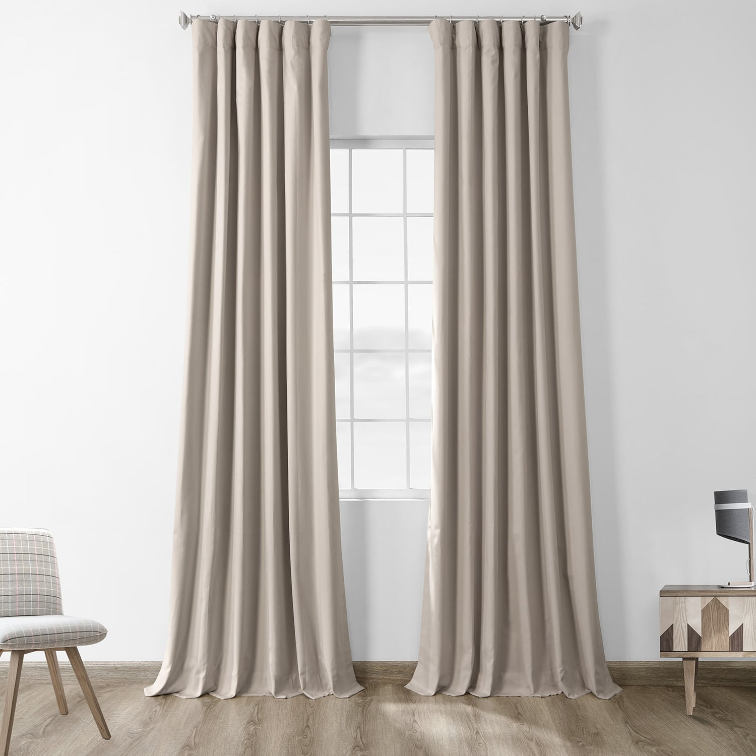 36 Inch Room Darkening Curtains Hazelwood Beige Solid Cotton Blackout Curtain