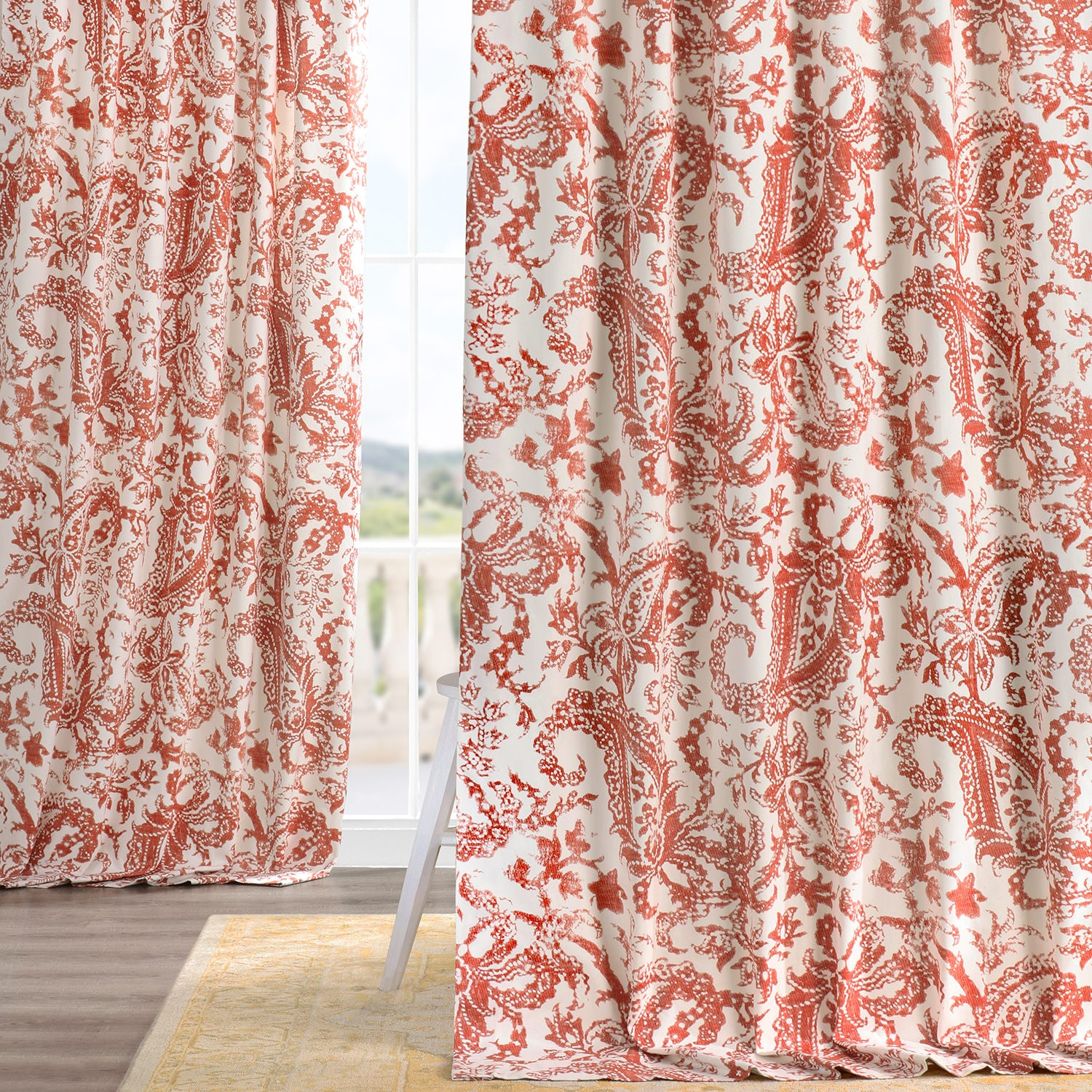 Cotton Curtain Panels Edina Rust Printed Cotton Curtain
