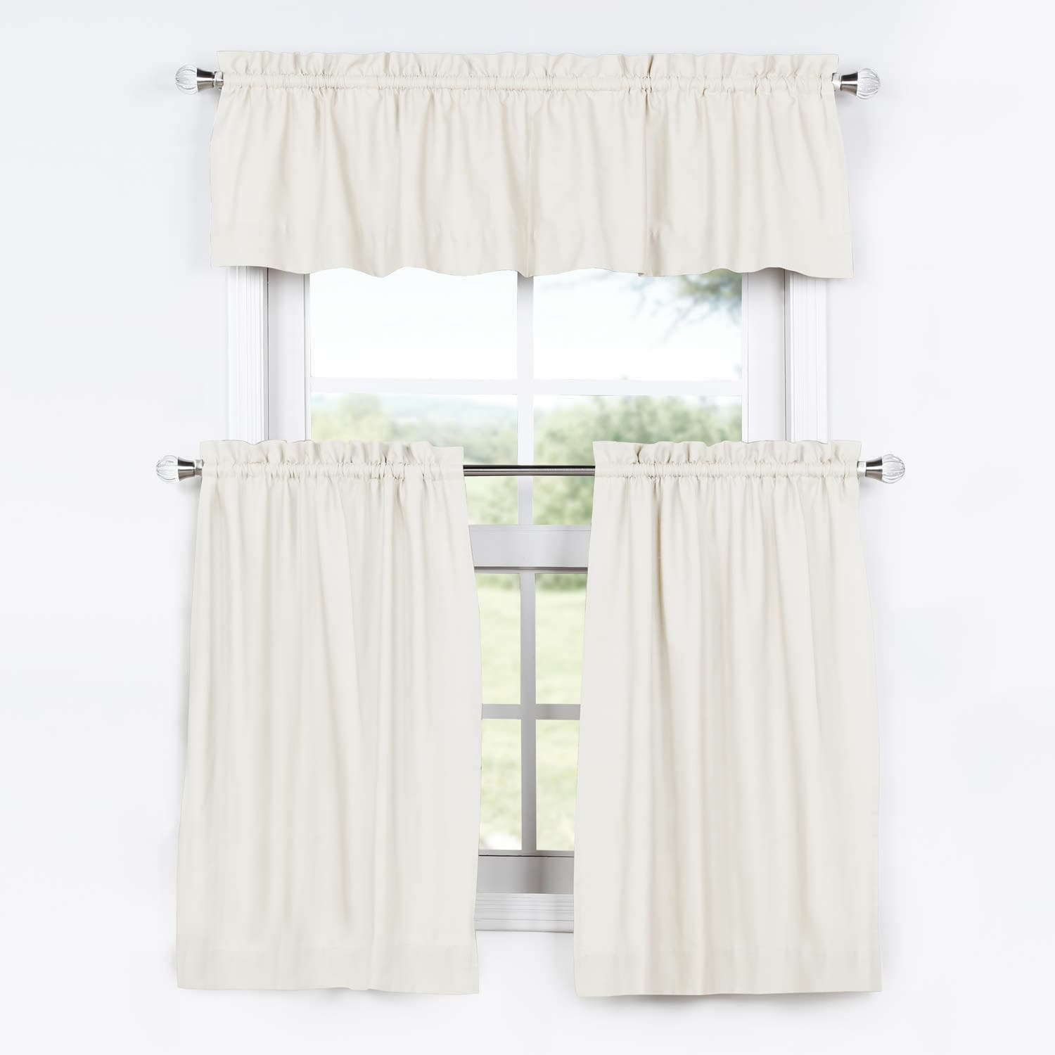 Kitchen Tier Curtains Sets Fresh Popcorn Solid Kitchen Cotton Tier Curtain And Valance Set