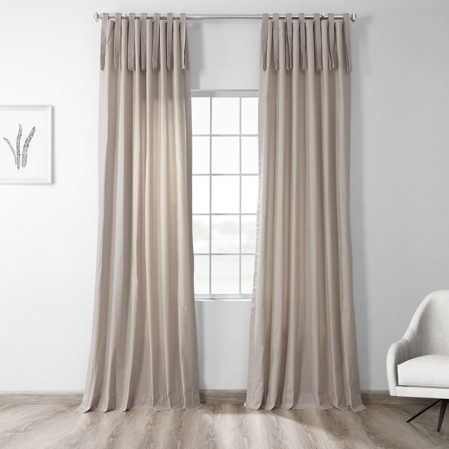 Draping Curtains Hazelwood Beige Solid Cotton Tie Top Curtain