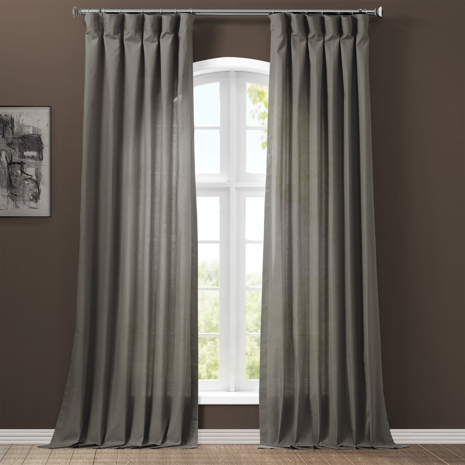 Draping Curtains Millstone Gray Solid Cotton Curtain