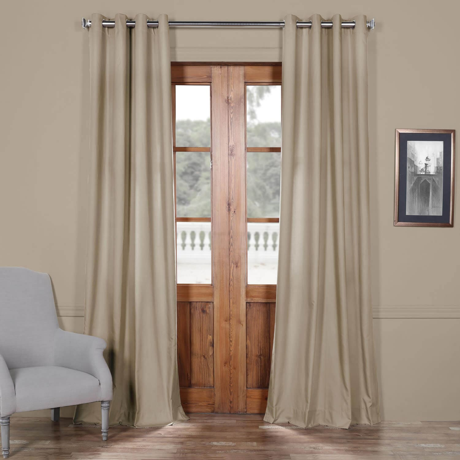 Draping Curtains Sandstone Solid Cotton Grommet Curtain