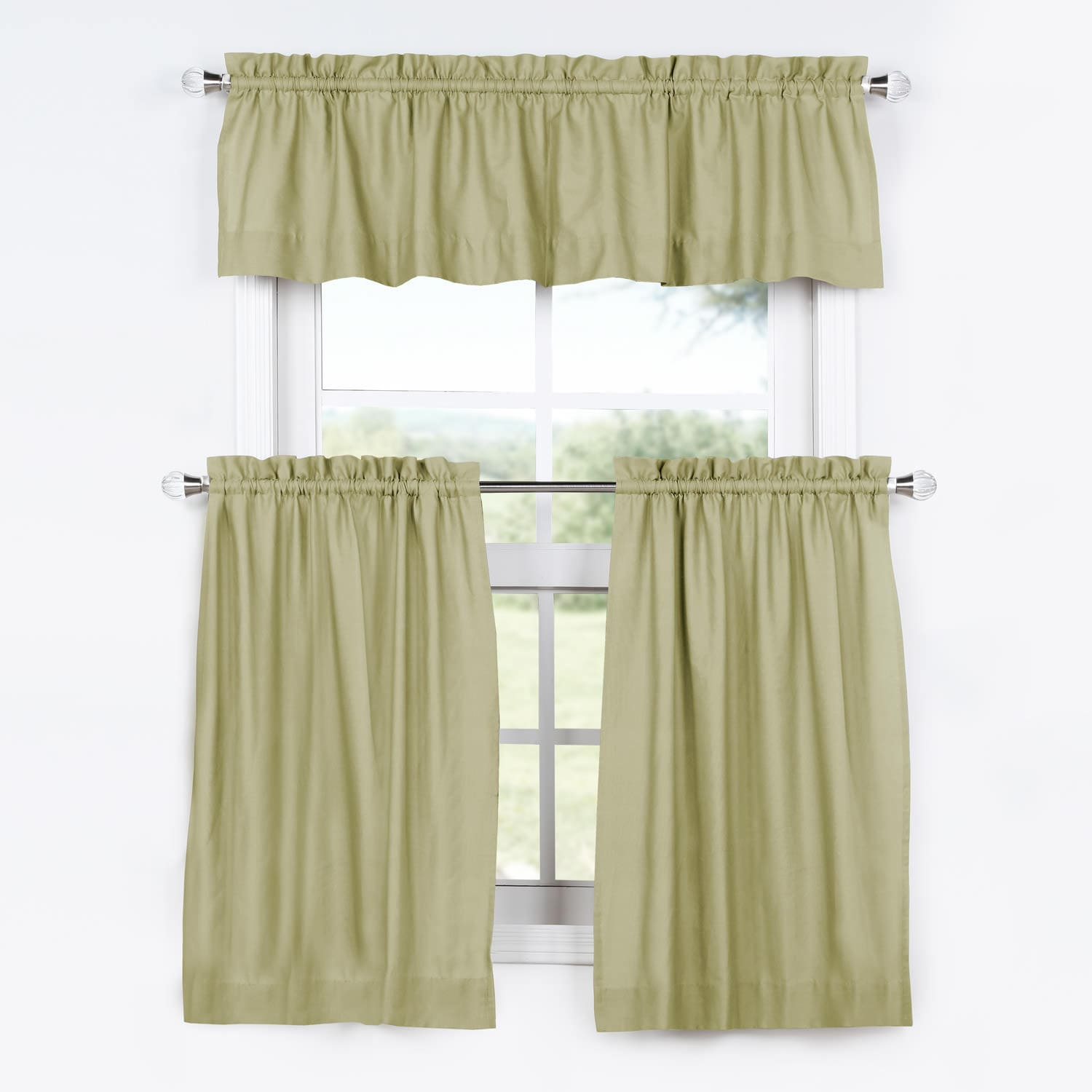Kitchen Tier Curtains Sets Mountain Moss Solid Cotton Kitchen Tier Curtain And Valance Set