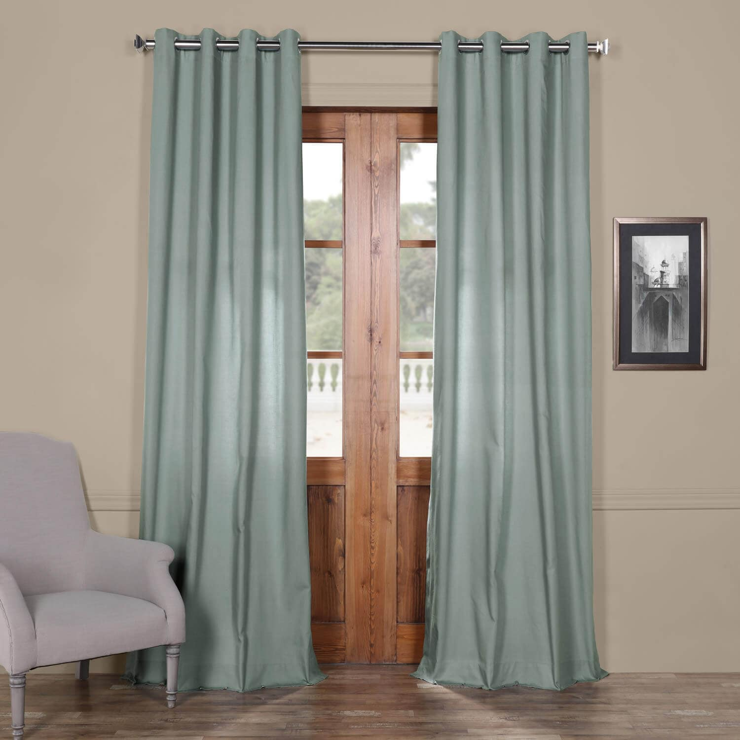 Draping Curtains Jasper Stone Solid Cotton Grommet Curtain