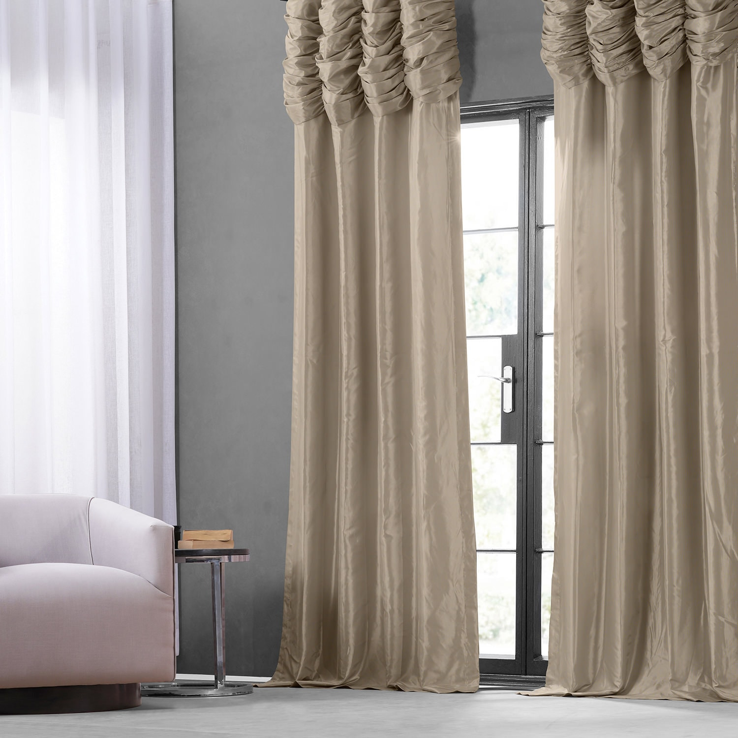 Curtain Deals Review Online Antique Beige Ruched Faux Solid Taffeta