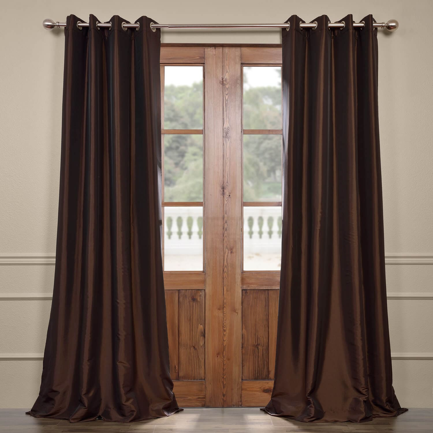 Curtain Deals Java Grommet Blackout Faux Silk Taffeta Curtain Deals Read