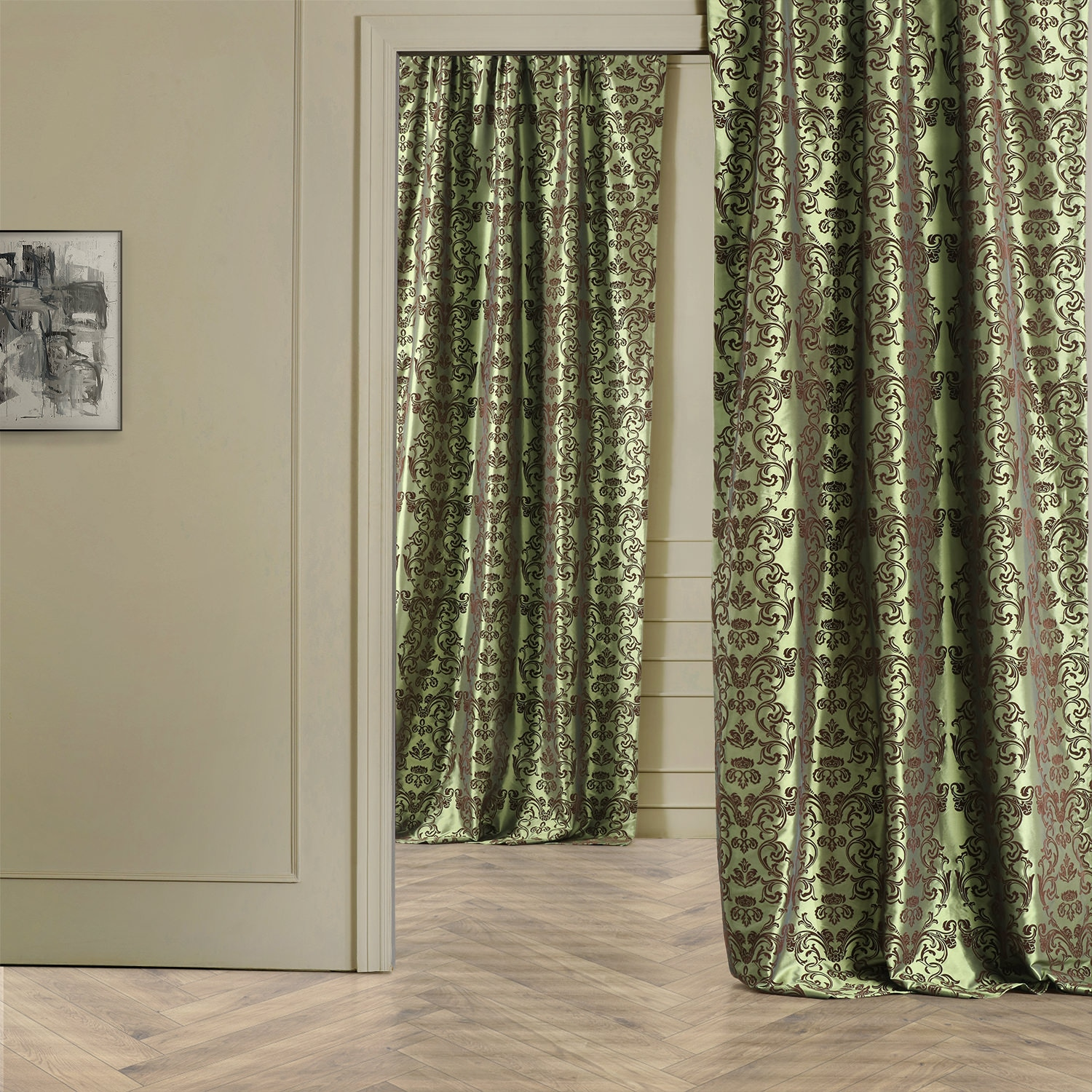Faux Silk Curtains Firenze Fern Flocked Faux Silk Curtain