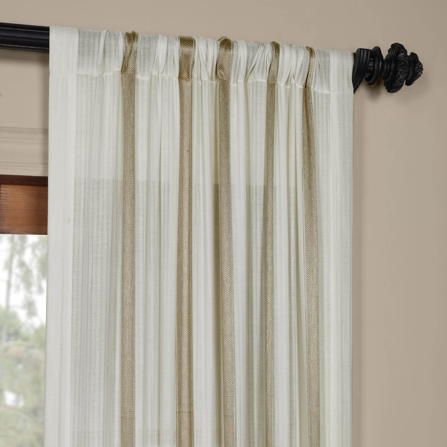 Buy Curtains Buy Antigua Gold Striped Linen Sheer Curtain And Drapes