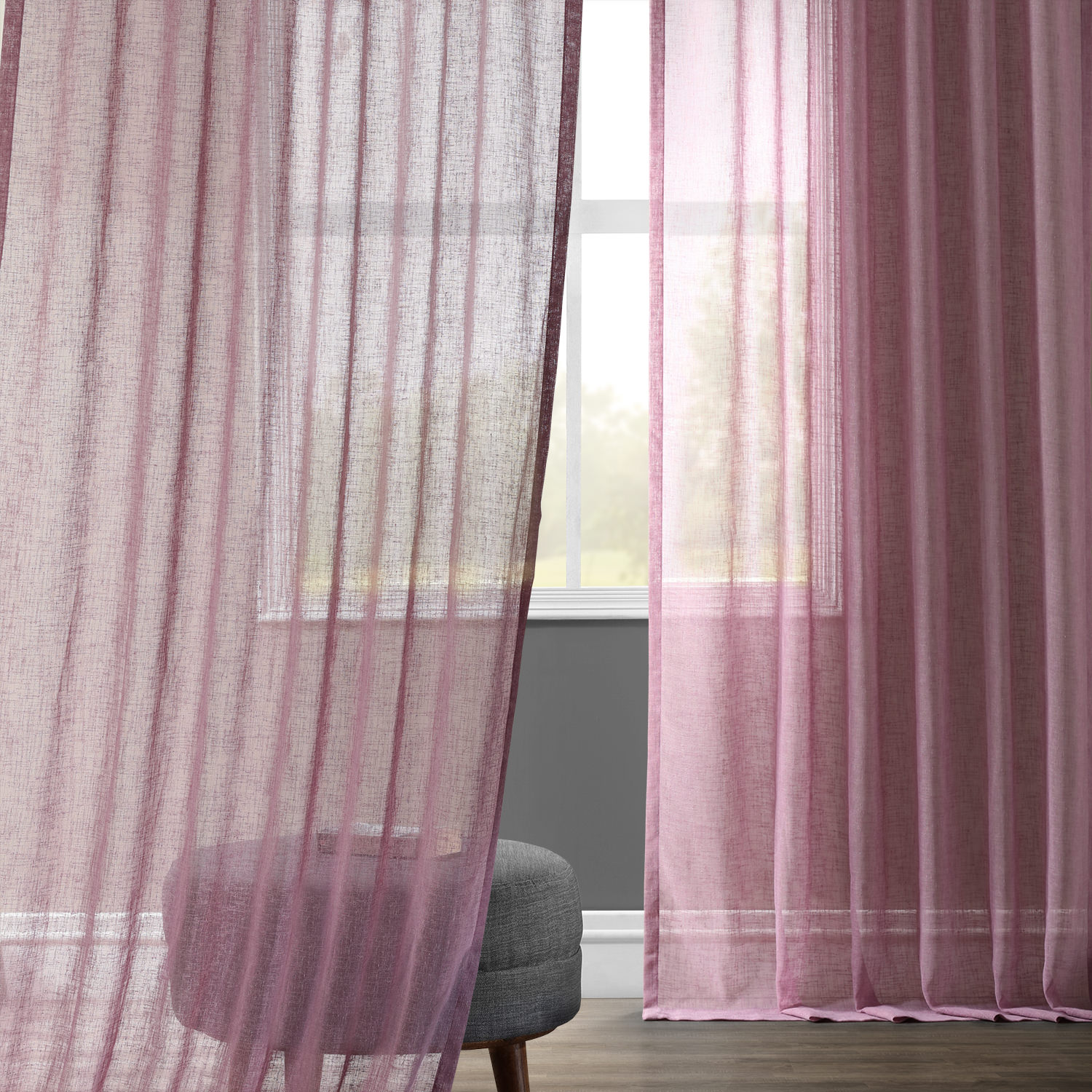 Lavender Sheer Curtains Blackberry Cream Solid Faux Linen Sheer Curtain