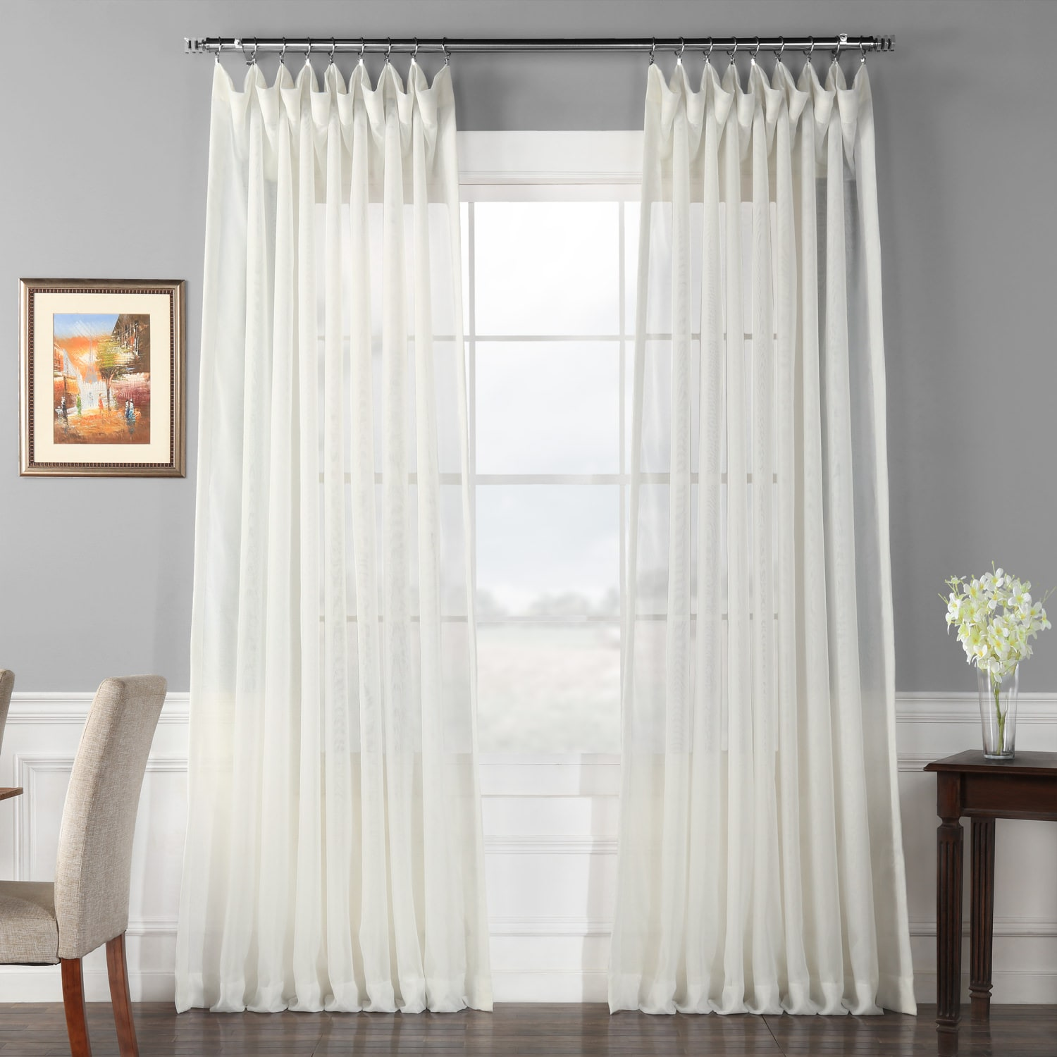 Double Wide Curtain Panels Double Layered Extra Wide Off White Sheer Curtain