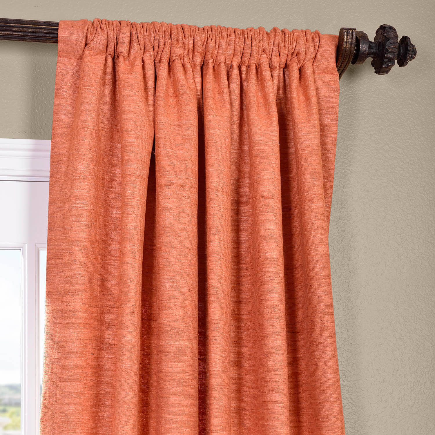 105 Inch Curtains Terracotta Raw Silk Curtain