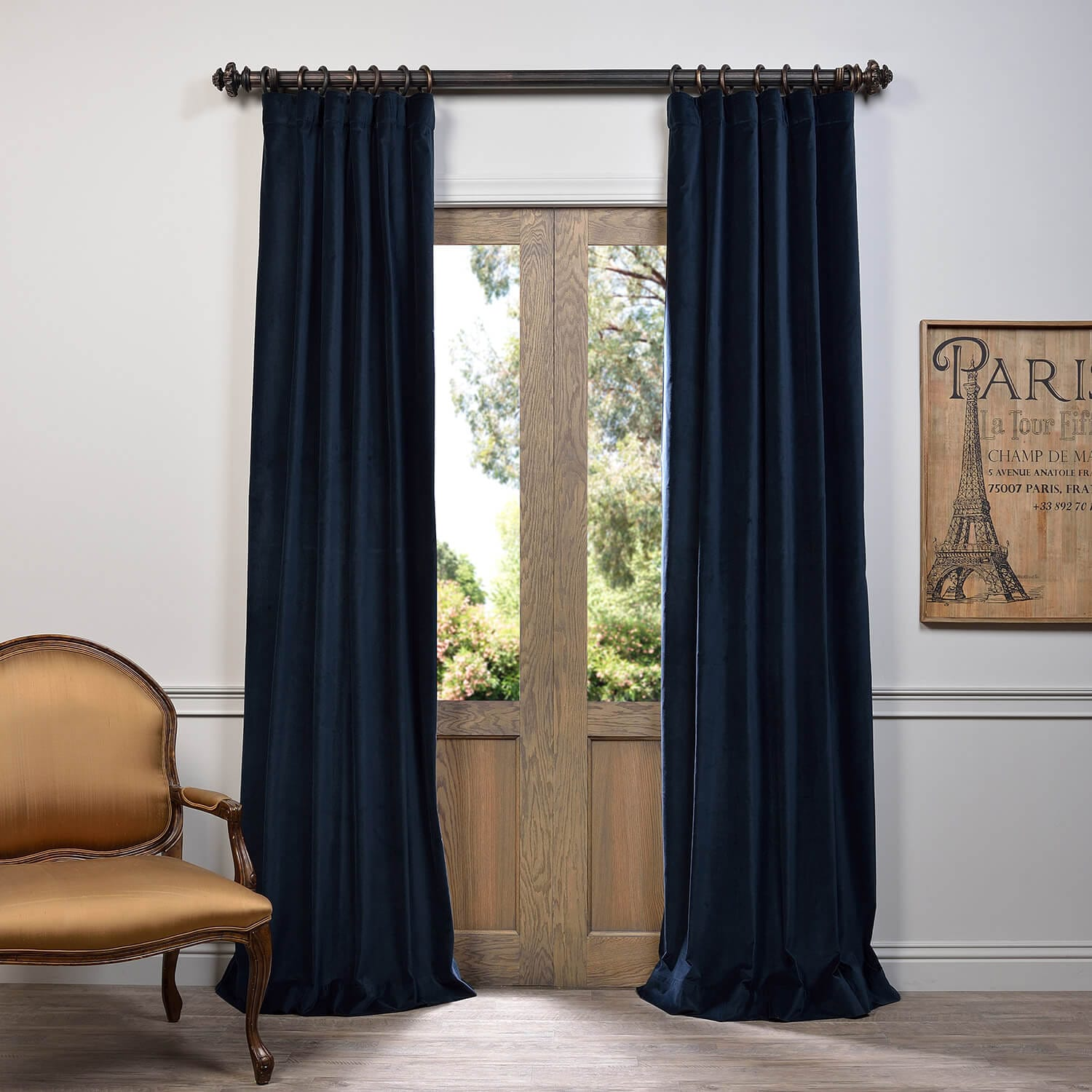 Cheap Stylish Curtains Navy Vintage Cotton Velvet Curtain