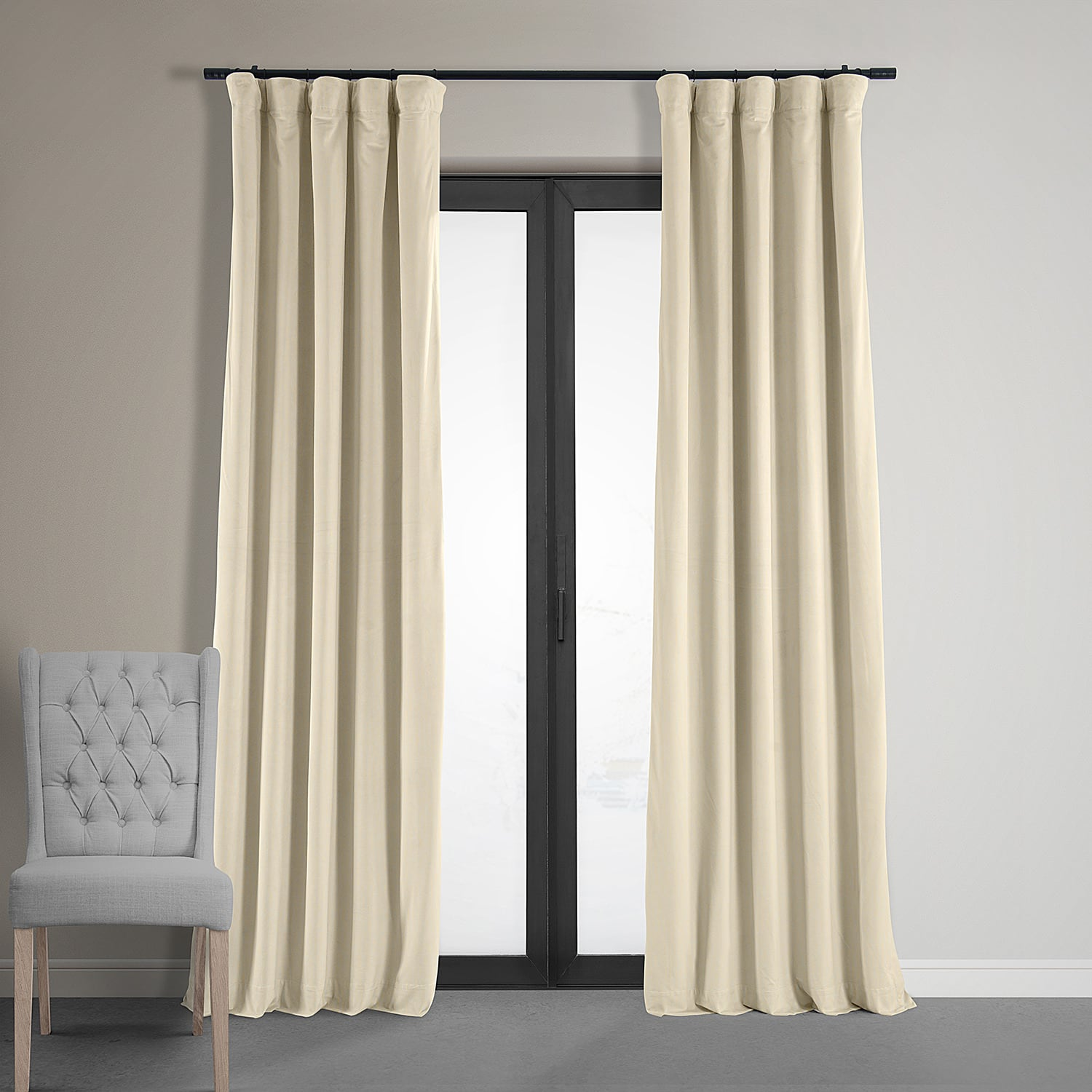 105 Inch Curtains Signature Ivory Blackout Velvet Curtain