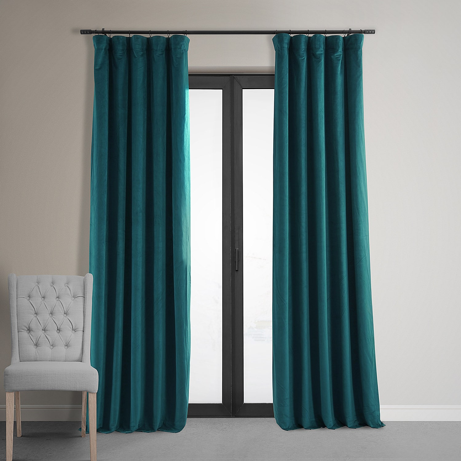 Teal Blackout Curtains Signature Everglade Teal Blackout Velvet Curtain
