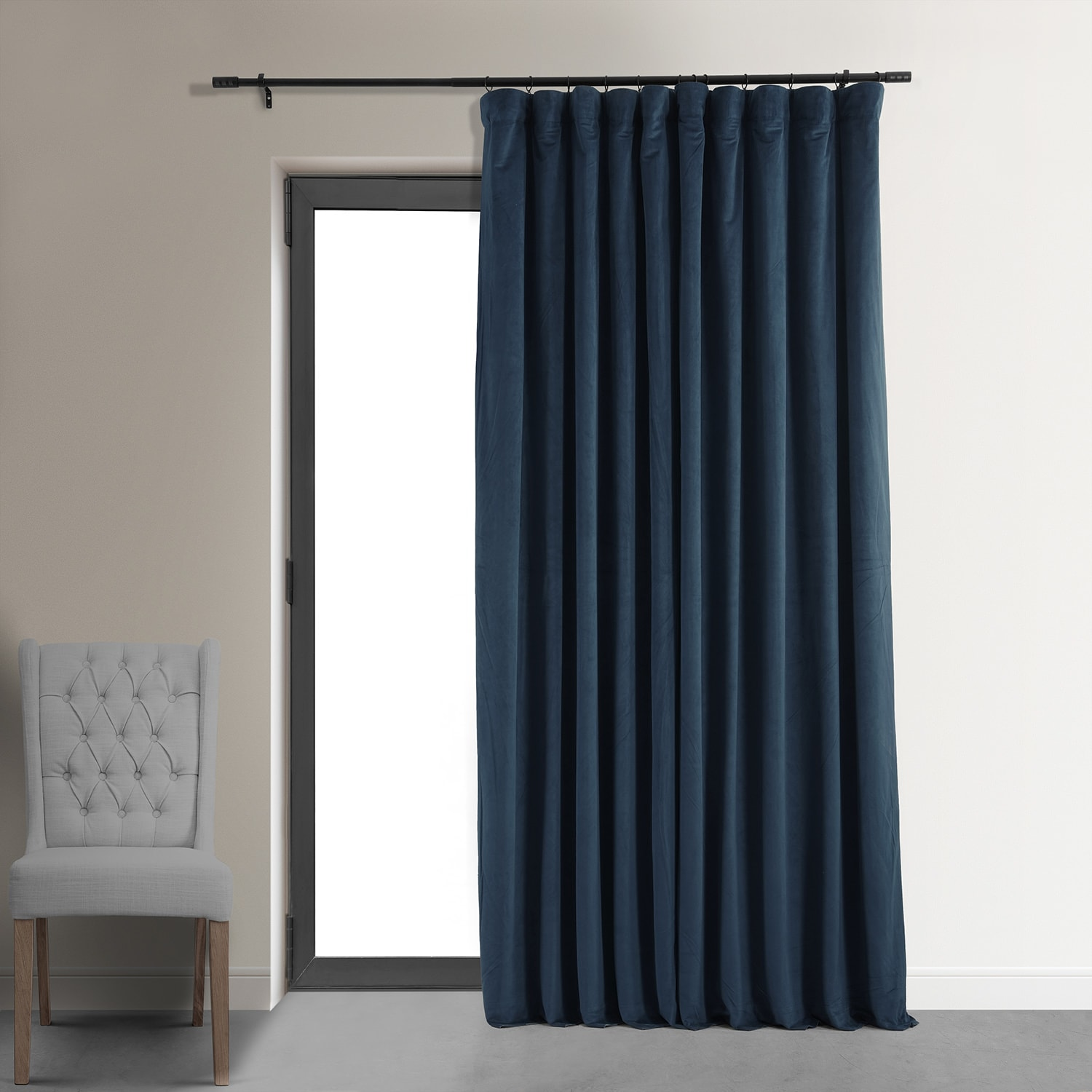104 Inch Curtains Signature Midnight Blue Extra Wide Velvet Blackout Pole Pocket Curtain