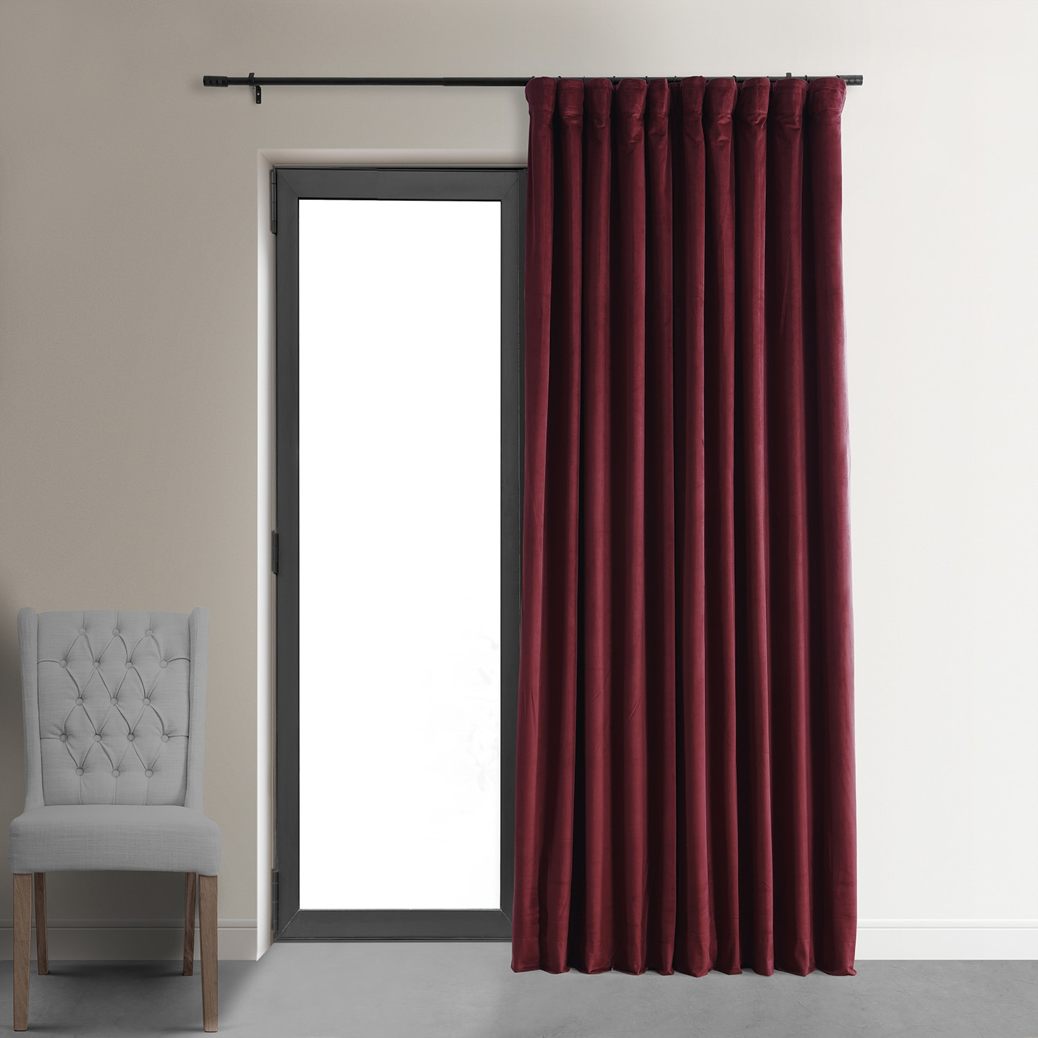 105 Inch Curtains Signature Burgundy Extra Wide Velvet Blackout Pole Pocket Curtain