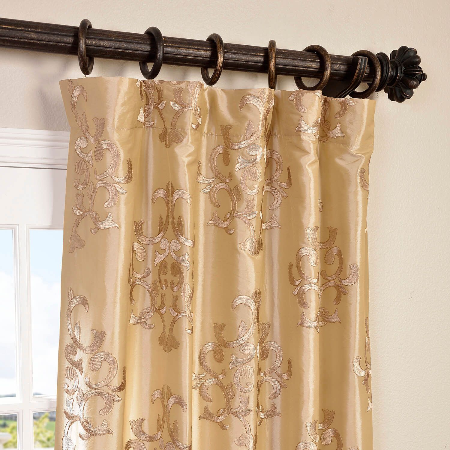 Buy Curtains Buy Ankara Champagne Embroidered Faux Silk Curtain