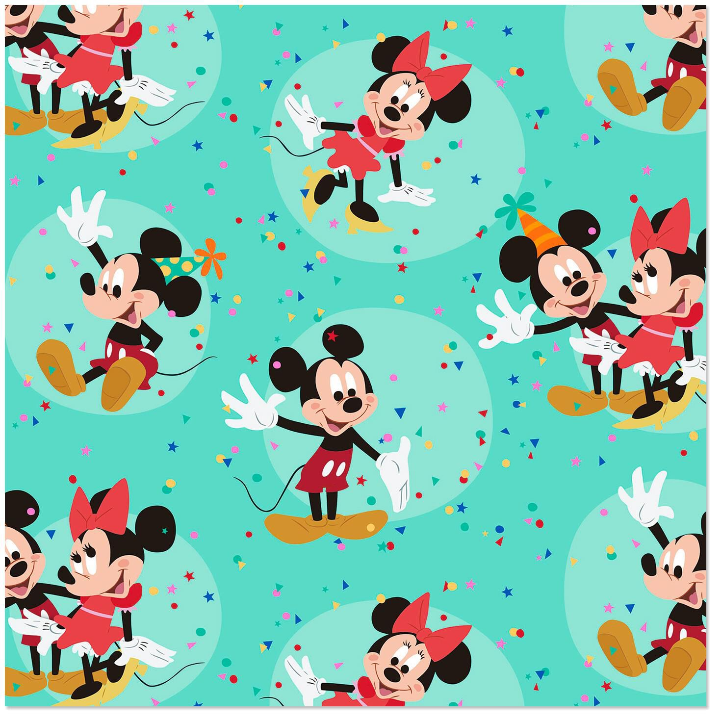 Disney Mickey Disney Mickey And Minnie On Aqua Wrapping Paper Roll 25 Sq Ft