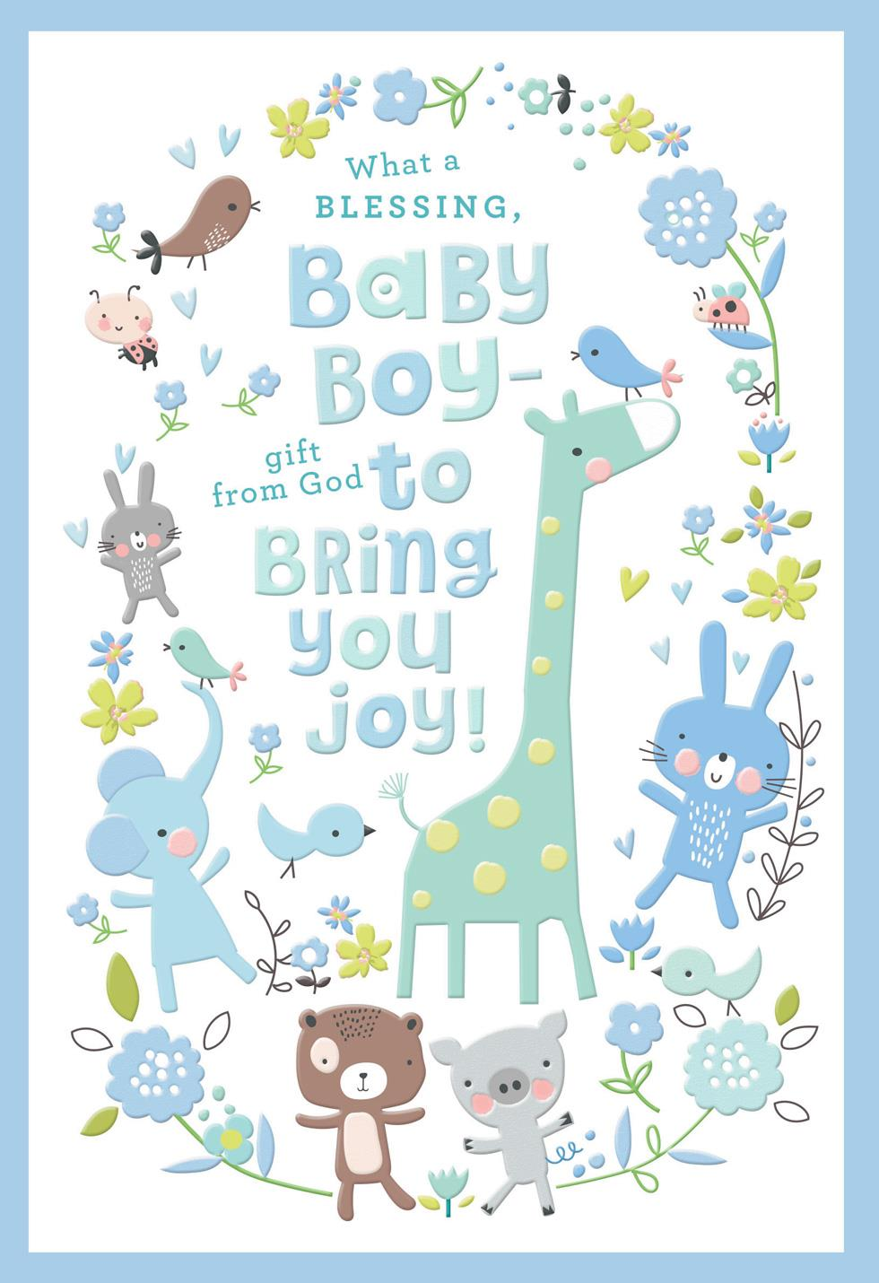 Birthday Card For Husband Giraffe And Animal Friends New Baby Boy Card - Greeting