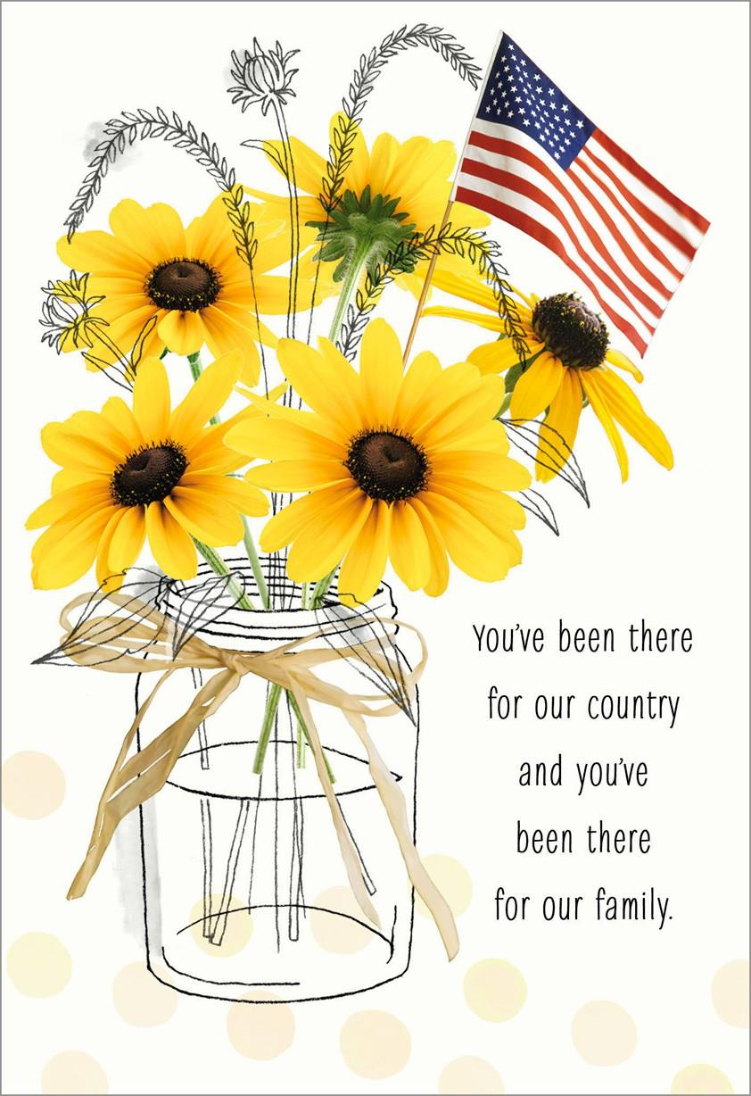 Collection Baby Card 2017 Sunflowers In Jar With Flag Veterans Day Card Greeting
