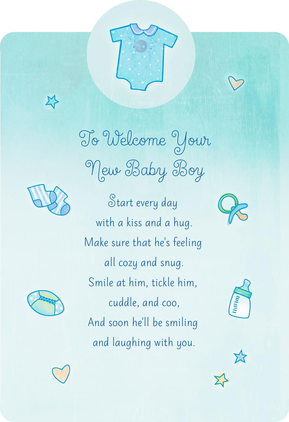 Birthday Card For Husband Welcome With A Kiss And Hug New Baby Boy Card - Greeting