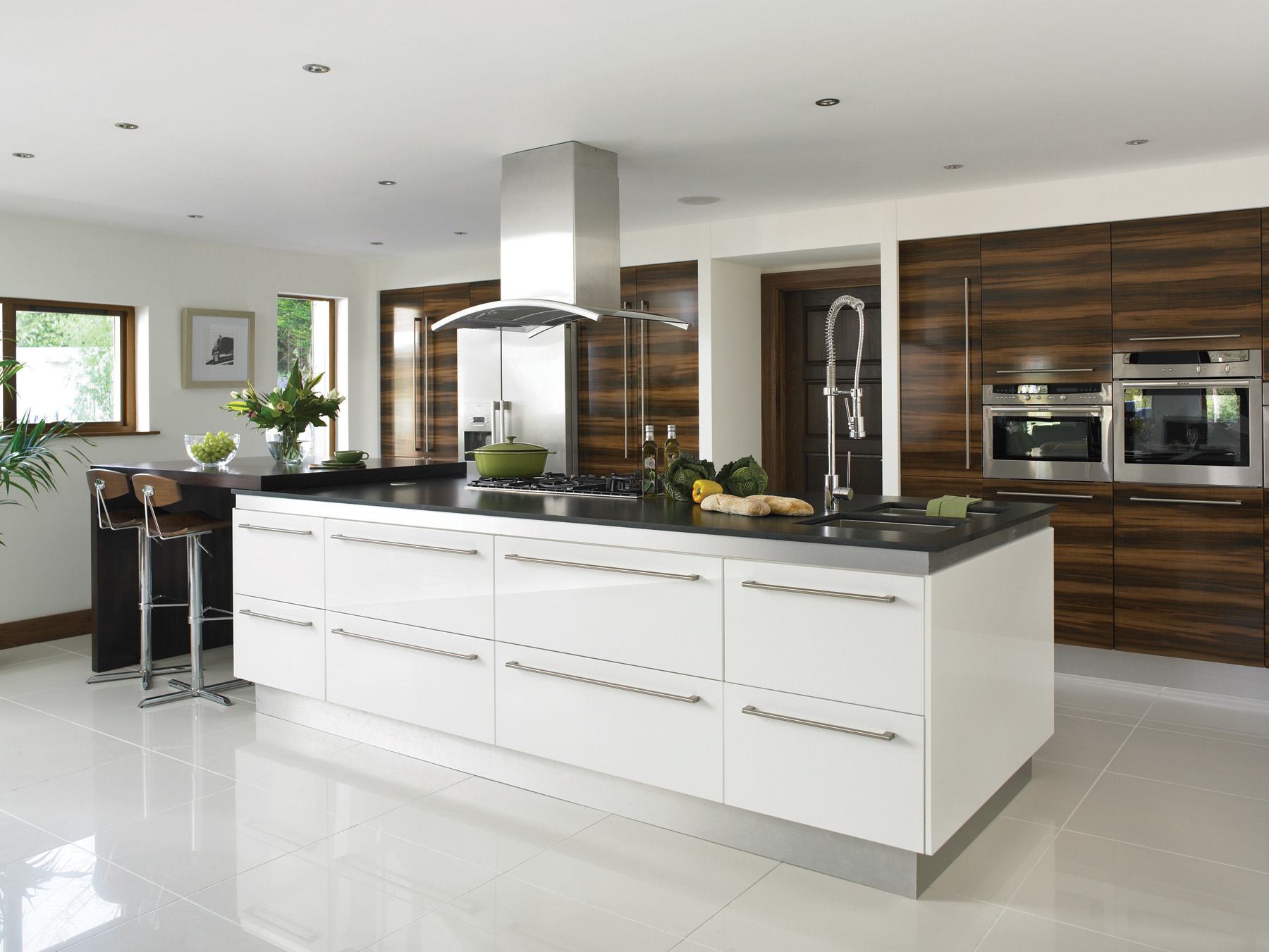 Modern White Kitchen Island Gloss White Kitchens Hallmark Kitchen Designs