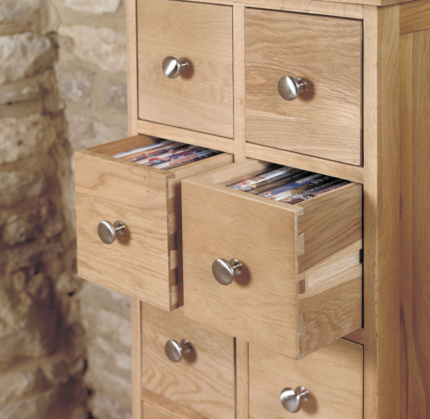 Dvd Möbel Mobel Oak Multi Drawer Dvd Cd Storage Chest Hallowood