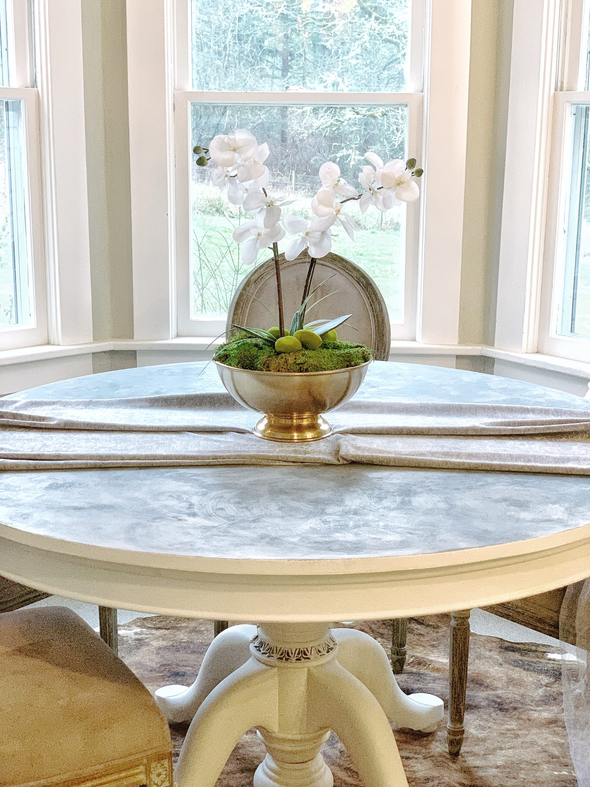 Faux Marble Chalk Painted Table Top Tutorial Hallstrom Home