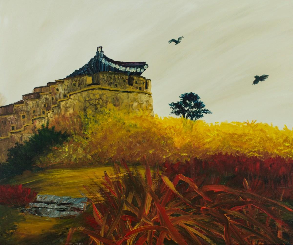 Korean Castle in Autumn Acrylic on Canvas – September 2017