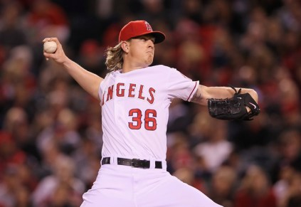 ANAHEIM, CA - MAY 02:  Jered Weaver #36 of the Los Angeles Angels of Anaheim pitches against the Minnesota Twins in the sixth inning at Angel Stadium of Anaheim on May 2, 2012 in Anaheim, California.  The Angels defeated the Twins 9-0.  (Photo by Jeff Gross/Getty Images)