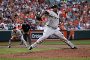 CC Sabathia delivers a pitch during the first inning of a game against the Baltimore Orioles at Camden Yards on June 13, 2015 (Rob Carr/Getty Images)