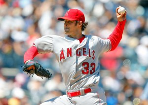 C.J. Wilson delivers a pitch during a game against the New York Yankees at Yankee Stadium on June 7, 2015 (Jim McIsaac/Getty Images)