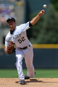 Chris Rusin delivers a pitch during the first inning of a game against the Milwaukee Brewers at Coors Field on June 21, 2015 (Justin Edmonds/Getty Images)