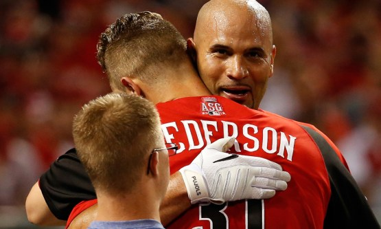 CINCINNATI, OH - JULY 13:  American League All-Star Albert Pujols #5 of the Los Angeles Angels of Anaheim congratulates National League All-Star Joc Pederson #31 Los Angeles Dodgers during the Gillette Home Run Derby presented by Head & Shoulders at the Great American Ball Park on July 13, 2015 in Cincinnati, Ohio.  (Photo by Rob Carr/Getty Images) ORG XMIT: 554358169 ORIG FILE ID: 480626376