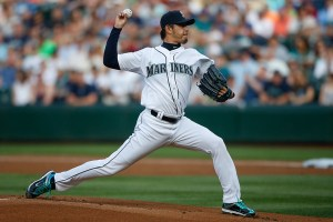 Hisashi Iwakuma delivers a pitch during the first inning of a game against the Detroit Tigers at Safeco Field on July 6, 2015 (Otto Greule, Jr./Getty Images)