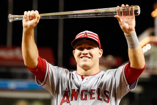 Mike Trout poses with the 2015 MLB All-Star Game MVP trophy during a post-game ceremony after the AL defeated the NL 6-3 in the 86th MLB All-Star Game at Great American Ball Park in Cincinnati, OH on July 14, 2015 (Rob Carr/Getty Images)