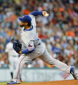 Yovani Gallardo delivers a pitch during the first inning of a game against the Houston Astros at Minute Maid Park on July 19, 2015 (Bob Levey/Getty Images)