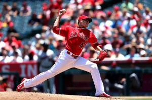Garrett Richards delivers a pitch during a game against the Minnesota Twins at Angel Stadium on July 23, 2015 (Stephen Dunn/Getty Images)