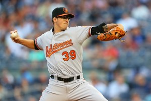 Kevin Gausman delivers a pitch during the first inning of a game against the New York Yankees at Yankee Stadium on July 22, 2015 (Mike Stobe/Getty Images)