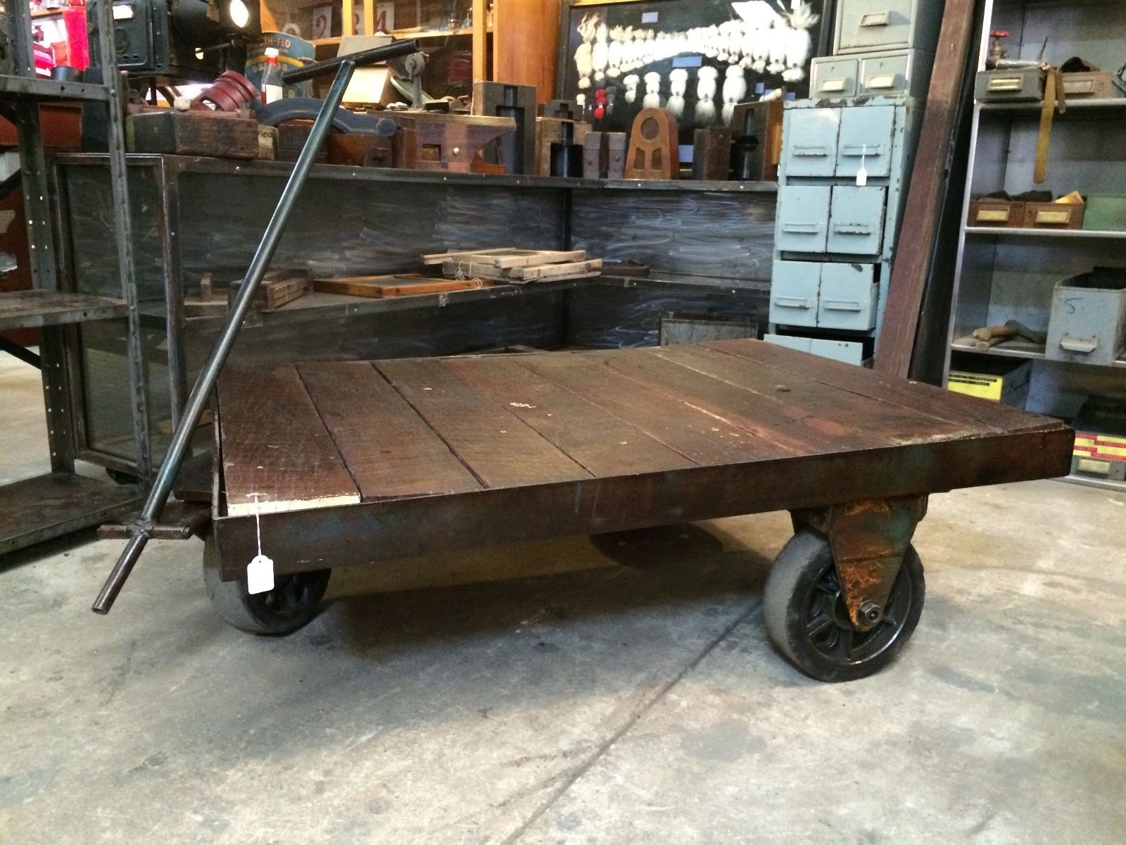 Industrial Vintage Industrial Vintage Timber Metal Trolley
