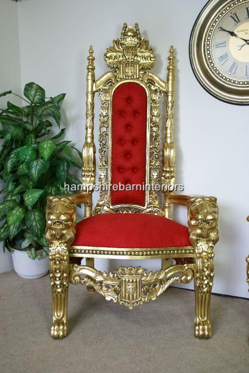 Couch Chesterfield A Gold Lion Throne Chair In Red Fabric | Hampshire Barn