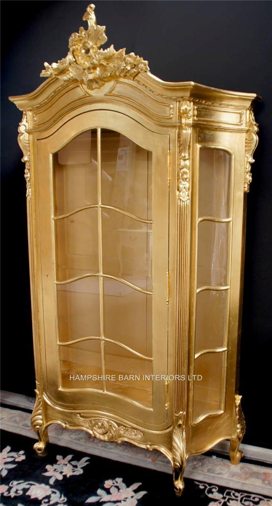 Small Office Chair An Ornate Silver Leaf Display Cabinet, Also In Gold Leaf